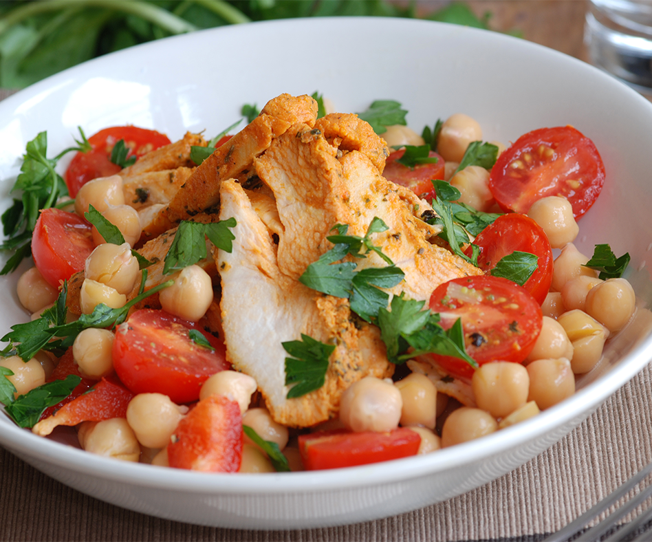 Cajun chicken and chickpea weight loss salad